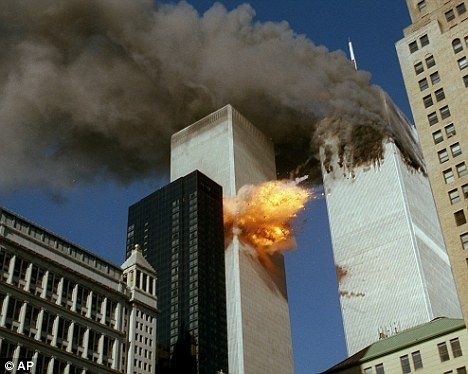 9:03 am: United Airlines Flt 175, hijacked by five terrorists en route from Boston to Los Angeles with 56 passengers and 9 crew members aboard, slams into the South Tower of the World Trade Center.