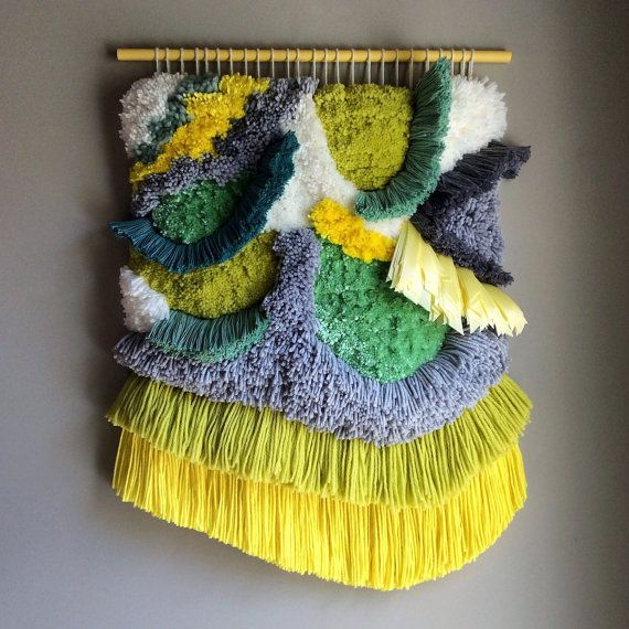 Woven wall hanging / Furry Pistachio n. 2 // Handwoven by jujujust