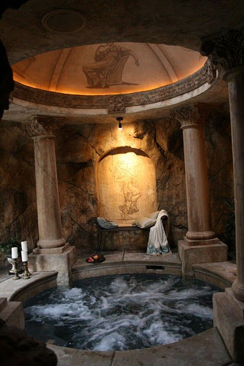 Roman inspired hot tub that connects to the master bedroom through a secret tunnel. I want one!!!