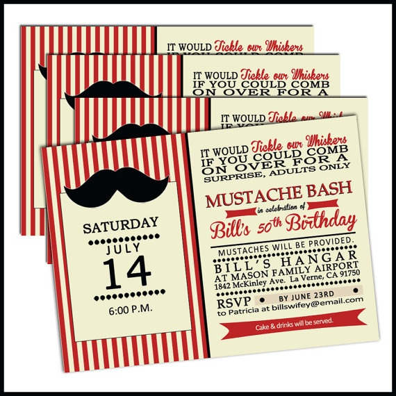Birthday Party Invitation for Men   Mustache Bash  by LullabyLoo, $45.00