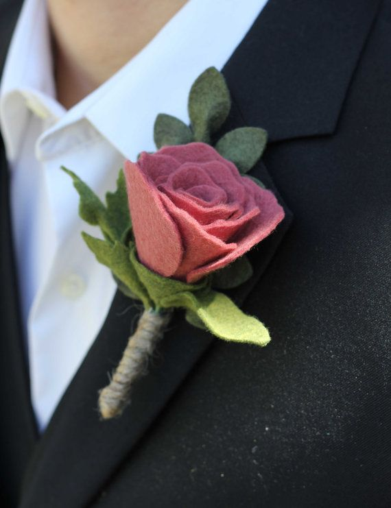 Felt Rose Boutonniere - Elegant Boutonniere for Weddings and Special Occasions  https://www.etsy.com/listing/182474638/felt-rose-boutonniere-elegant?ref=shop_home_active_3