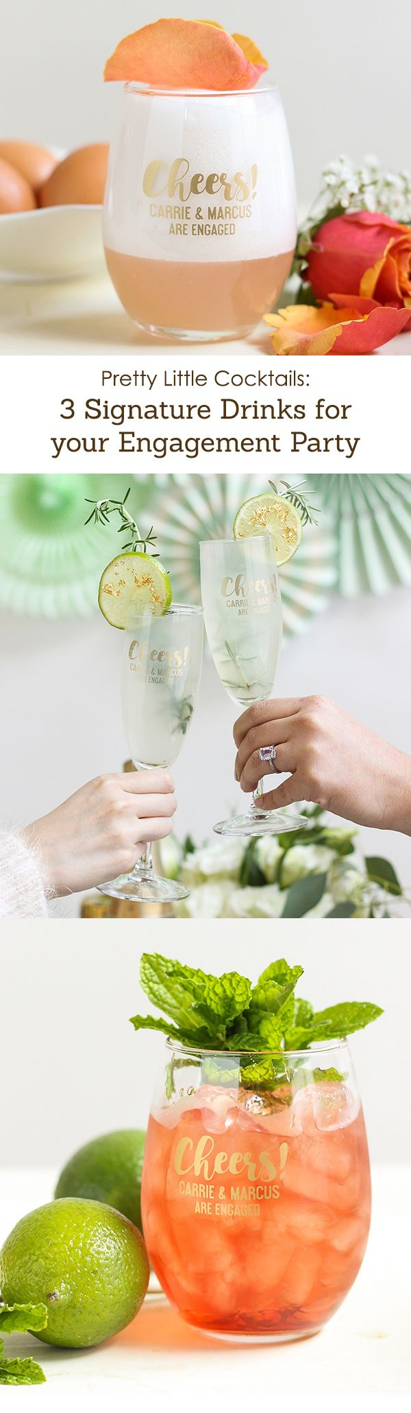 You're engaged! Celebrate with a cocktail engagement party! These pretty signature drinks are just the place to get you started.