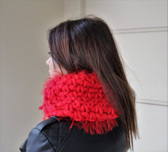 Snood chunky gift Knit cowl snood Red scarf wrap by MariliartbyM
