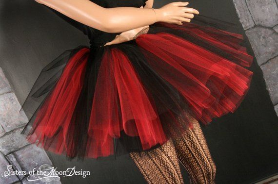 2832540fe3a0 tutu skirt Peek a boo three layer black and red Adult -- You Choose Size --  Sisters of the Moon