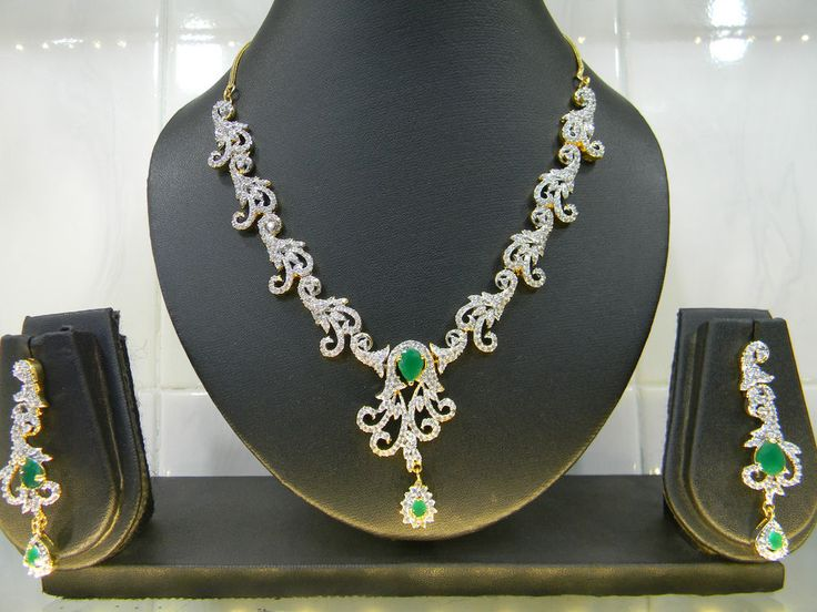 Beautiful AD Necklace Set with Green Stone- Just Like Real