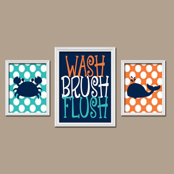 Nautical BATHROOM Wall Art, Kid BATHROOM Decor, Beach Bathroom Pictures,  Ocean Bathroom Artwork Part 22