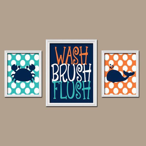 Nautical BATHROOM Wall Art, Kid BATHROOM Decor, Beach Bathroom Pictures, Ocean Bathroom Artwork, Crab Whale Set of 3 Boy Girl Bathroom Rules