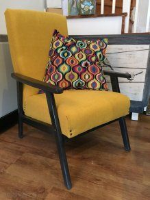 Re Upholstered Retro Armchair   Yellow And Grey Finish For Sale in Artane, Dublin from gercik