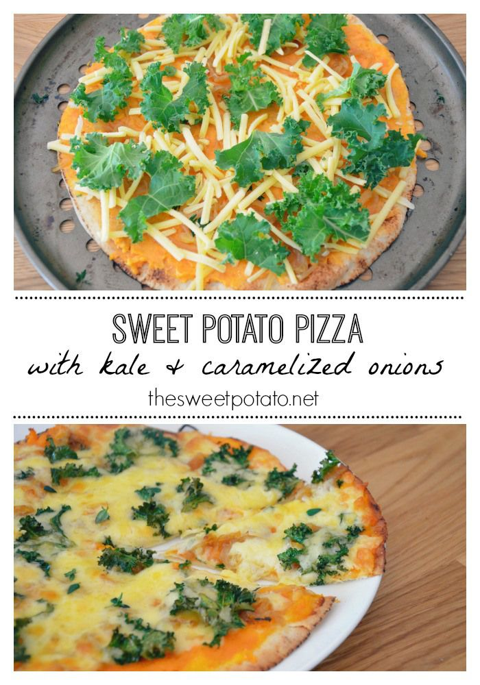 Sweet Potato Pizza with Kale and Caramelised onions. Healthy and delicious!