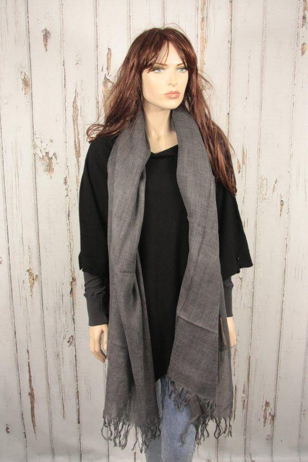 Tif-Tiffy grote shawl wol antraciet