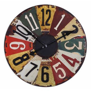 """Uttermost Vintage Oversized 29"""" License Plates Wall Clock"""