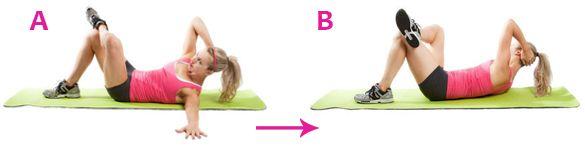 ADDOMINALI 2 Stenditi sul pavimento in posizione supina, alza la gamba sinistra a 45 gradie appoggia la caviglia della gamba destra sul ginocchio sinistro. Metti la mano sinistra sotto la nuca e quella destra sull'anca destra.Inspira e alza il busto, portando il gomito sinistro verso il ginocchio destro. Torna lentamente alla posizione iniziale, espirando.Ricomincia alternando le gambe.  -Principiante: 3 serie da 10 a destrae a sinistra. Fai una pausa di 2 minuti tra una serie e…