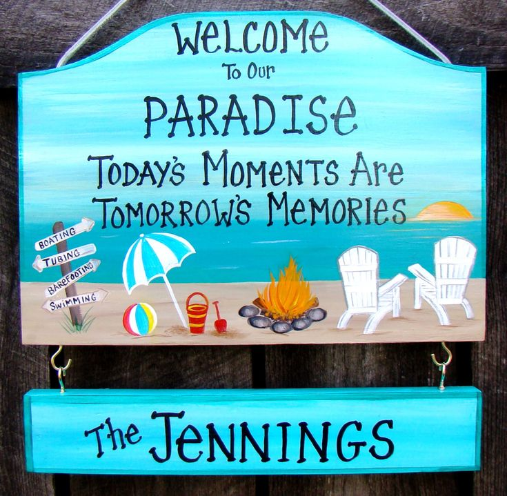 Custom Welcome to our Paradise Camp Camping Beach Summer Home Pool or Backyard Sign Campfire Personalized Signs with your Name by CreativeDesigns77 on Etsy