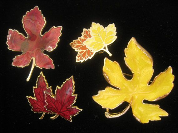 Lot of 4 Vintage Fall Leaf Brooches Enameled in by JewelryCapers, $12.00Fall Leaves, Vintage Fall, Fall Leaf
