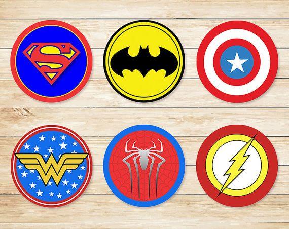 Printable Superhero Cupcake Topper Basic Logos // Superhero Stickers // Super hero cupcake toppers // Superhero Party // Superhero Favors