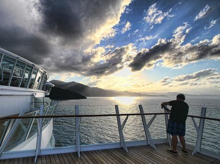 A sunset unlike any other onboard Allure of the Seas in Labadee.Sea Cruises, Oasis Class, Allure Oasis, Onboarding Allure, Labadee, Shoots Sunsets, Photos Shared, The Sea, Caribbean Allure