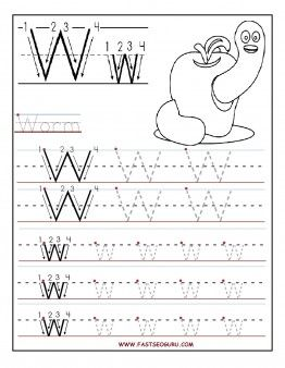 Free Printable letter W tracing worksheets for preschool. Free connect the dots alphabet printable worksheets for 1st graders