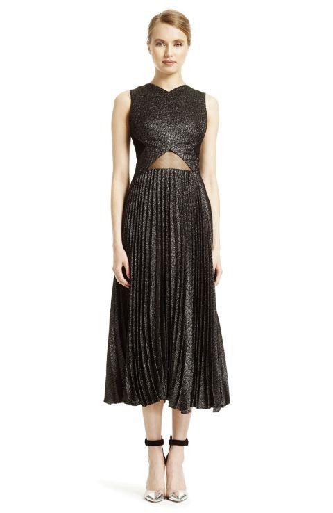 Sparkle Tweed Pleated Dress
