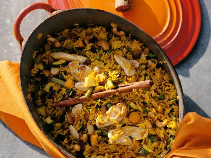 Risotto au poulet, carottes et courgettes