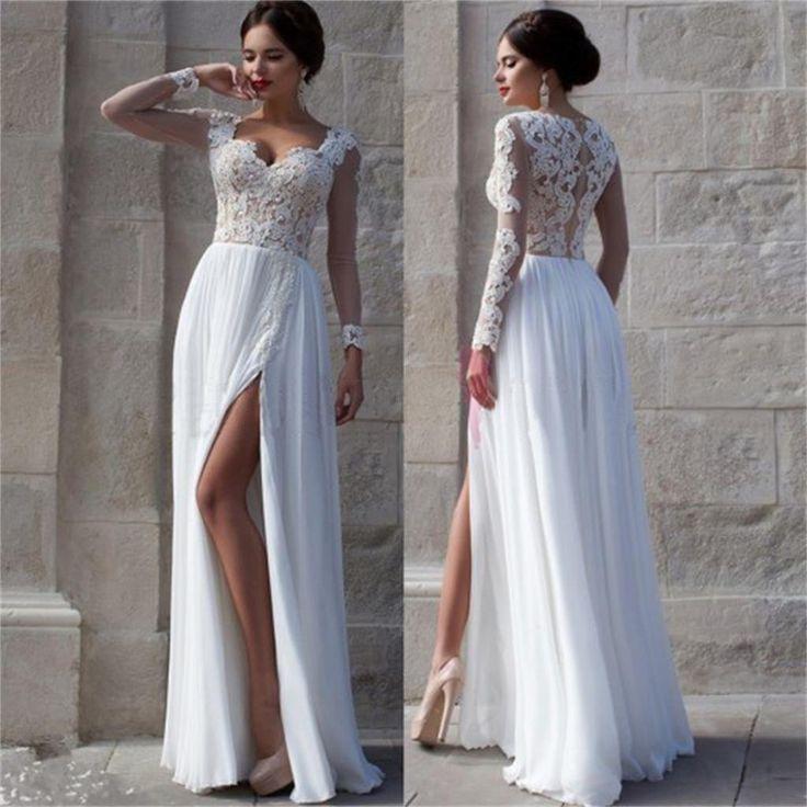 White Prom Dresses, Side Slit Prom Dresses,Elegant Prom Dresses,Custom – SposaDesses