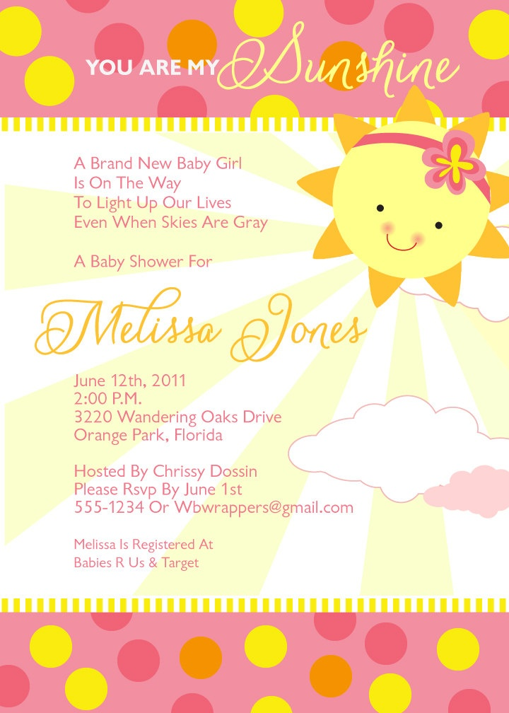 sunshine baby showers invitations girly sunshine babys shower babys