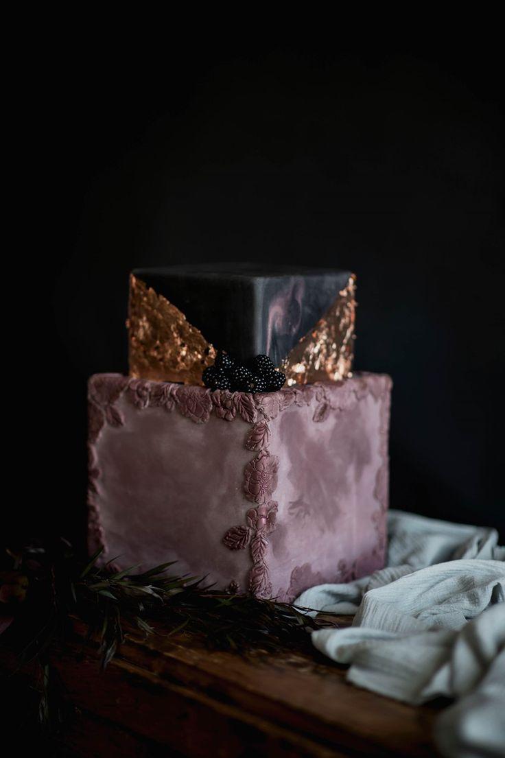 Dark & Moody Square Wedding Cake