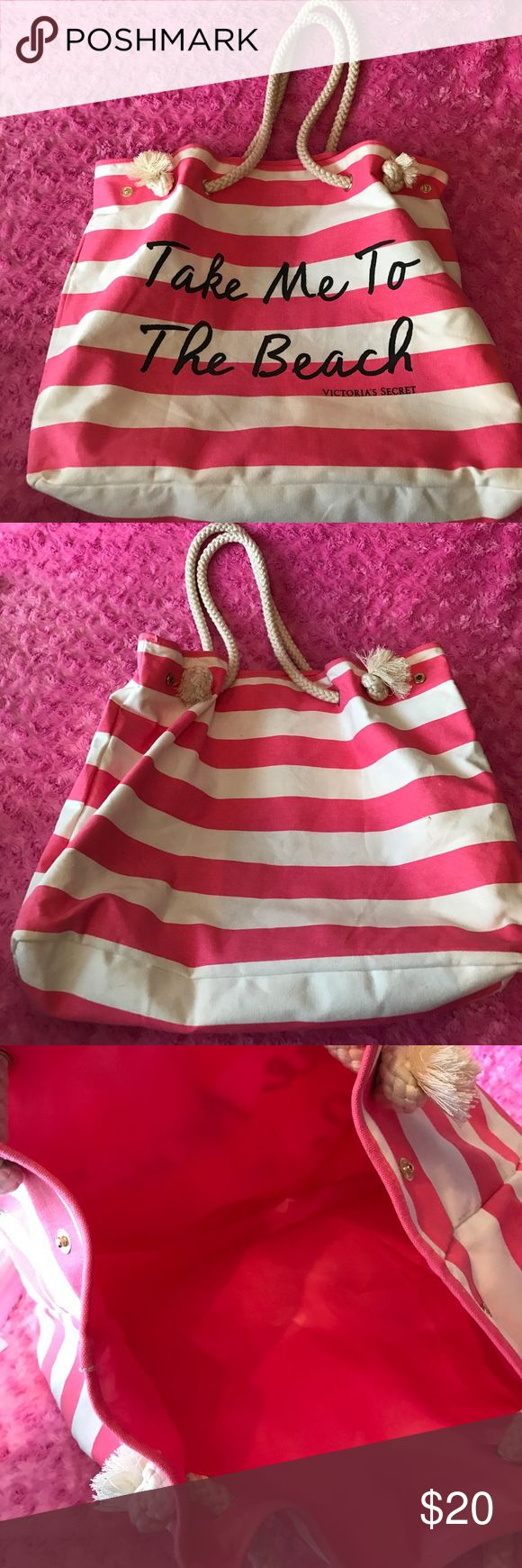 Like New VS Tote I've never used this only stored! There may be a little dirt from storage (price reflects this only) however nothing that can't be cleaned like new! 🤗 super nice tote perfect if your going to the beach...or not! 👙 (not Pink VS just VS) PINK Victoria's Secret Bags Totes