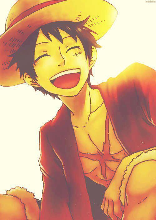 Love this because he looks so happy :) Luffy, One Piece