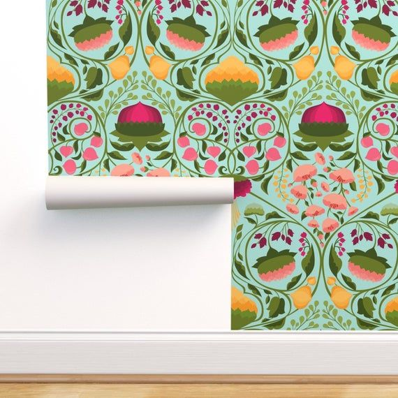 Floral Garden Wallpaper The Blossoming Garden Raspberry By Etsy In 2021 Peel And Stick Wallpaper Wallpaper Removable Wallpaper