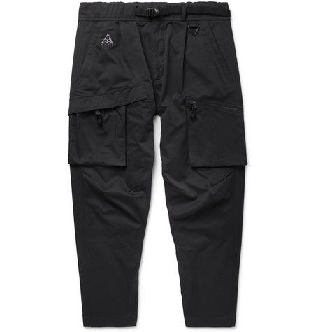 28905baa12d32 NIKE BLACK ACG TAPERED COTTON-BLEND TWILL CARGO TROUSERS. #nike #cloth