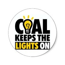 COAL KEEPS THE LIGHTS ON ROUND STICKERS