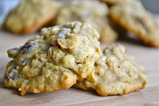 Pumpkin Oatmeal Cookies w/ dried cranberries Mother Thyme