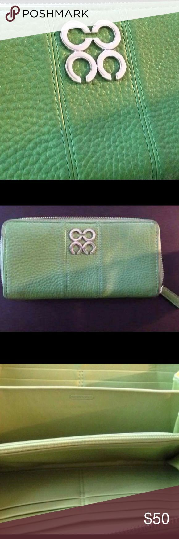 Kelly Green Pebbled leather zip up wallet. Beautiful, Kelly Green, zip up Coach Wallet. Like new. Never used. Gorgeous color and lots of room for cards. Super soft pebbled leather. Coach Bags Wallets