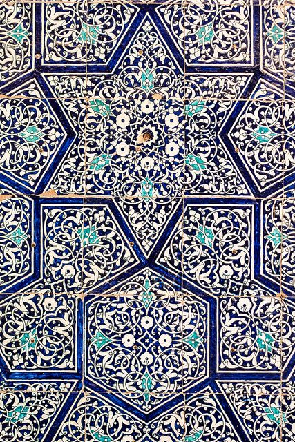 utkhowaga: Tiles, Ark, Khiva, Karakalpakstan. Photo by...