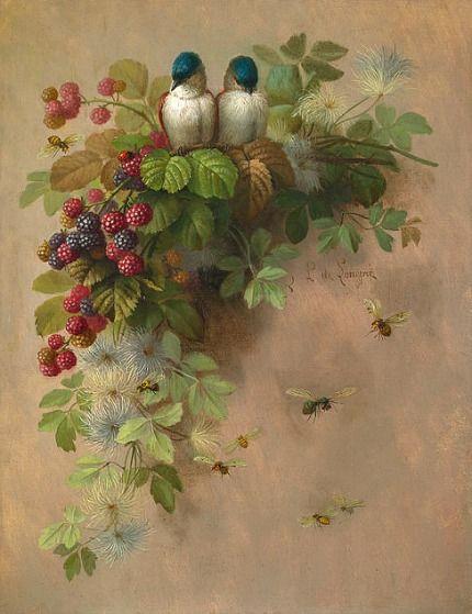 Paul de Longpre  Birds, Bees, and Berries  1900