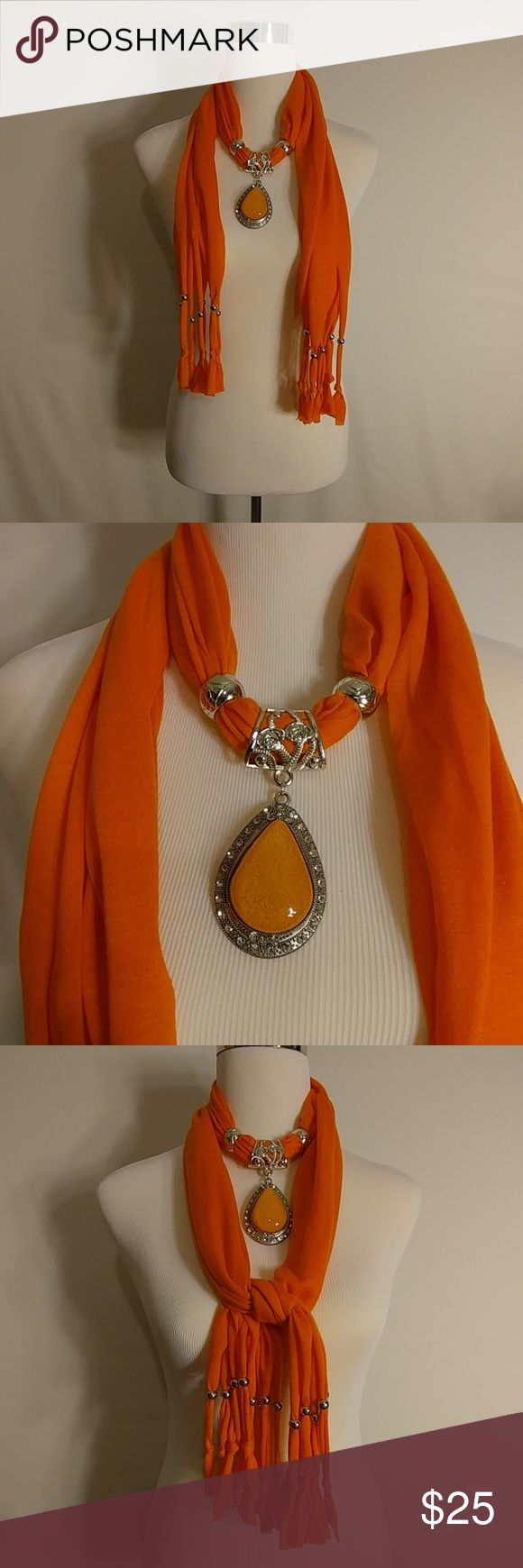 Woman's necklace scarf Lightweight women's orange necklace scarf brand new never worn Accessories Scarves & Wraps