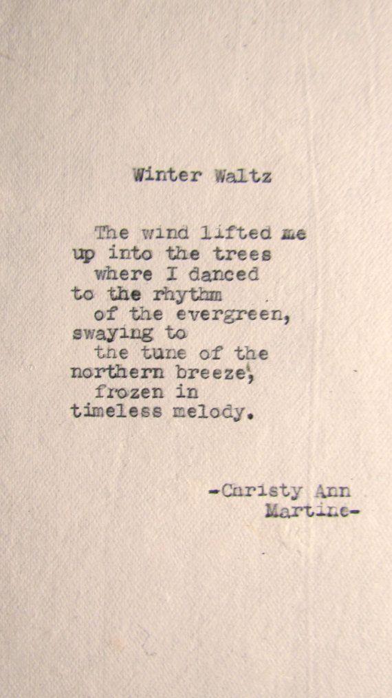Winter Waltz Poem by Christy Ann Martine typewriter poetry
