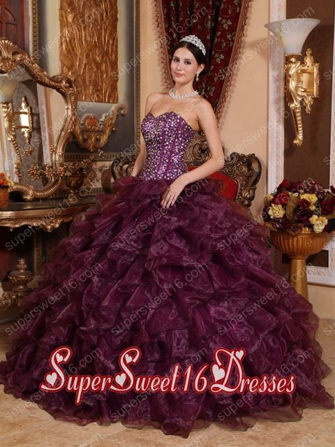 Modest Dark Purple Ball Gown Sweetheart Organza Sequins Sweet Sixteen Dresses
