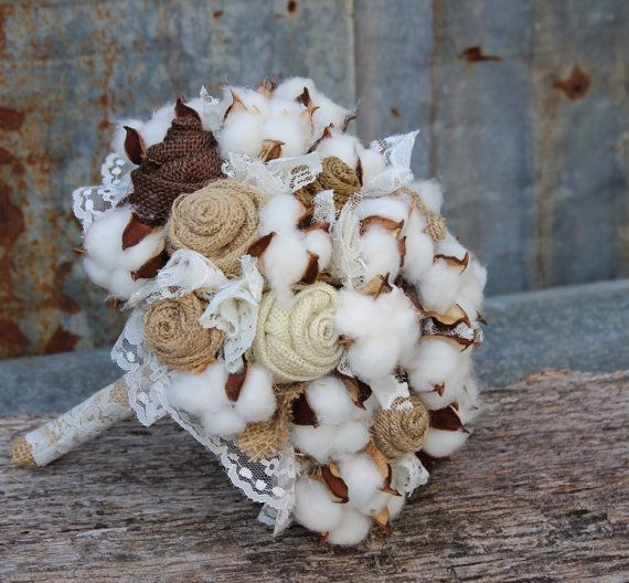 Burlap and Cotton Bridal Bouquet rustic wedding bouquet burlap and lace by GypsyFarmGirl