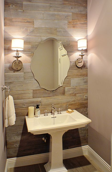 Powder room reclaimed wood wall chrome sconces pedestal - Powder room sink ideas ...
