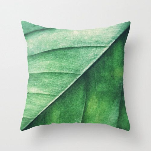 Pillow Cover, Leaf Pillow Green Leaf Nature Decor Accent Throw Woodland Hippie Interiors Kussen Groen Forest Green Cushion 16x16 18x18 20x20