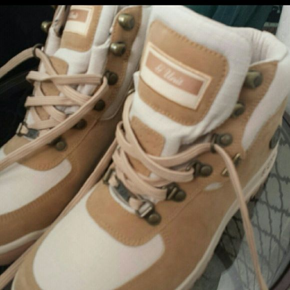 Reebok G-Unit Sneaker Boots The most comfortable stylish tan cloth & camel suede sneakers that are boots ever! Just too big for me. Rapper 50 cent inspired design. Worn 1x like new, no box Reebok G-Unit Shoes Combat & Moto Boots