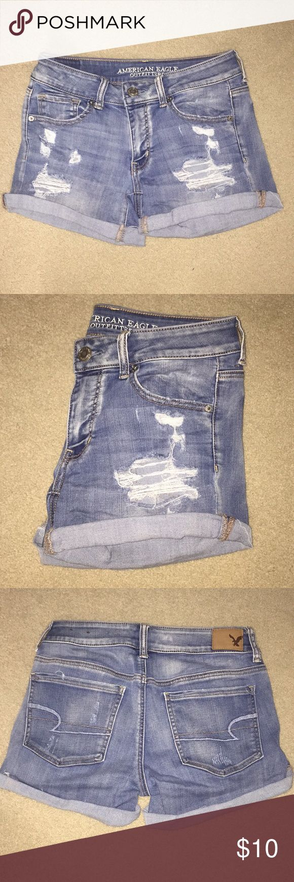 Distressed Denim American Eagle Shorts Midi Shorts but can be cuffed to any length desired! Stretchy to fit best! Offers are welcome! Still Available! American Eagle Outfitters Shorts Jean Shorts