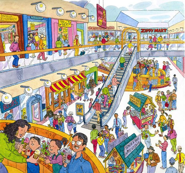 Illustration Shopping | busy day at the mall. Created for the cover of one of three books I ...