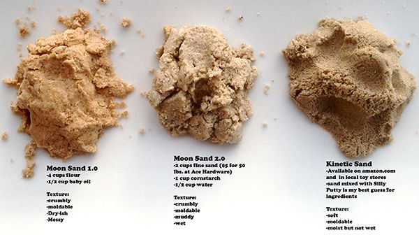 Make sure to CLICK picture to get the REAL recipe! Don't use these, one of them WILL STINK! Make Your Own Kinetic Sand (10 lbs for 50 cents) using stuff you have at home! Easy and cheap!