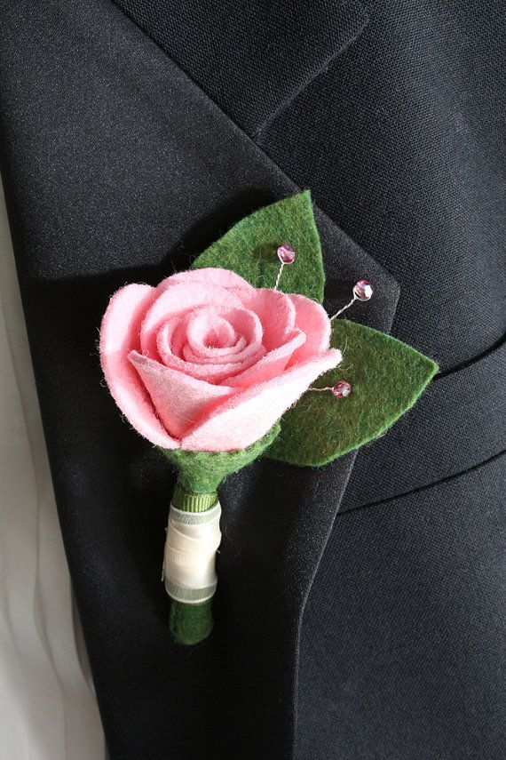 Pink Rose Felt Boutonniere - Hand Painted and Beaded - Pink Rose and Ivory Ribbon - Perfect for Weddings, Dances and Special Occaisions