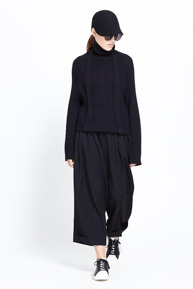 Y's by Yohji Yamamoto Cropped Suspender Turtleneck (Black)