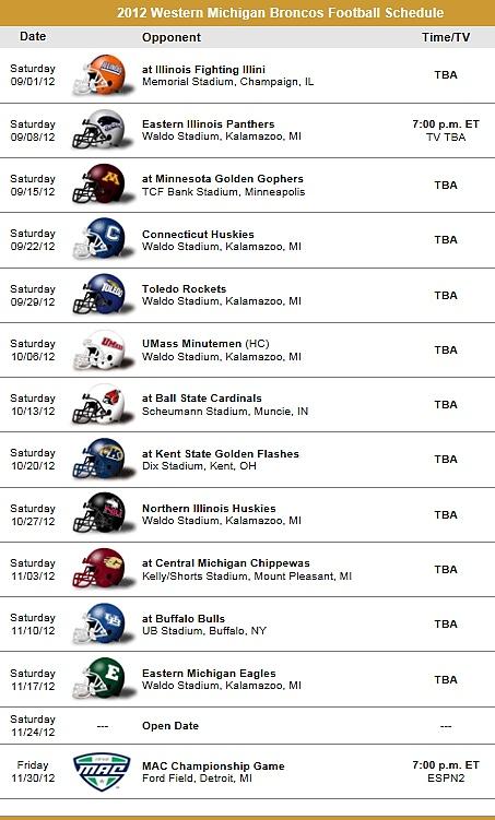Western Michigan Broncos 2012 Football ScheduleMichigan Broncos, Michigan Universe, Westerns Michigan, Universe Broncos, Broncos 2012