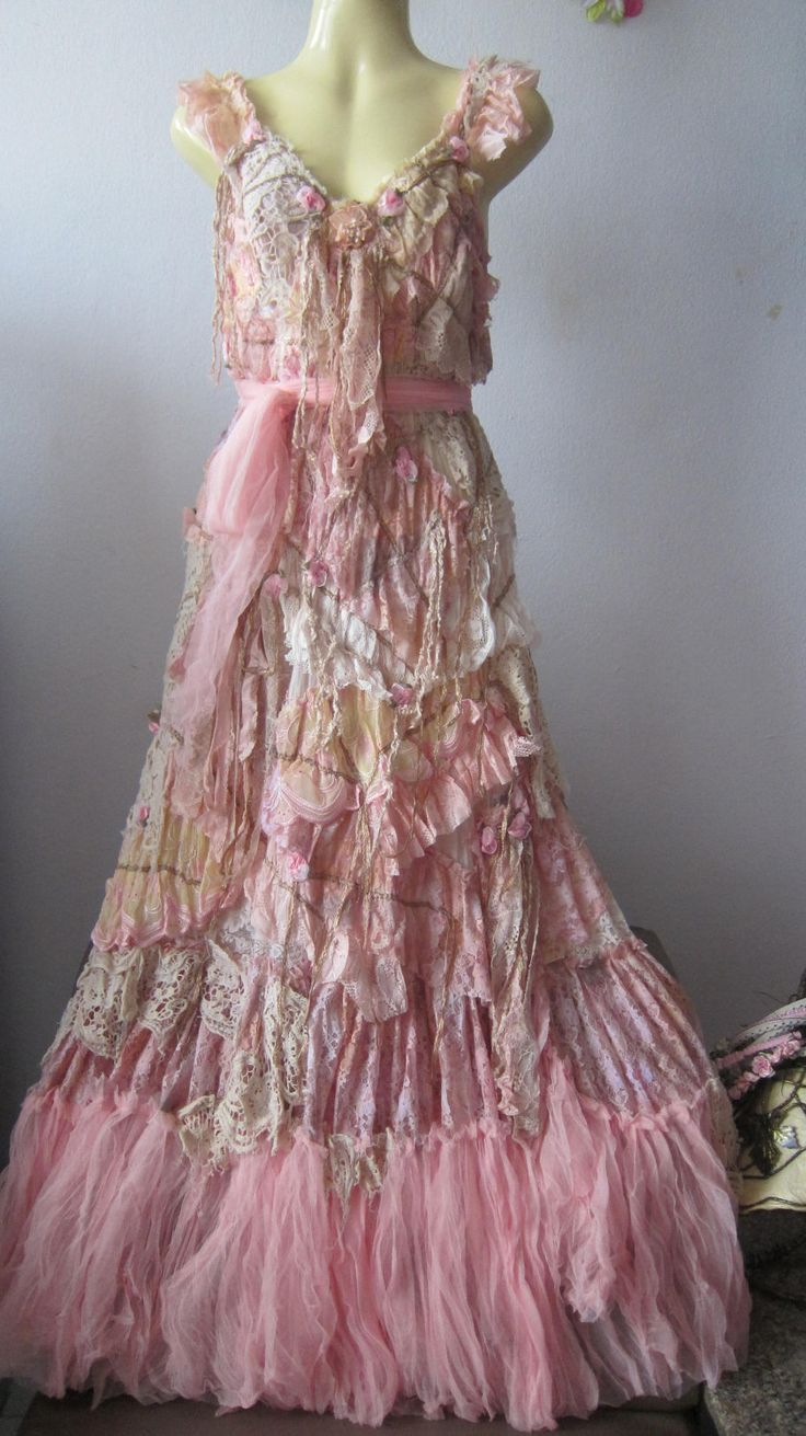 RESERVED..she has stories to tell...vintage inspired shabby bohemian gypsy dress .... $175.00, via Etsy.