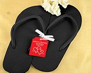 Wedding Flip Flops w/Personalized Tag (Black or White Available) | My Wedding Favors